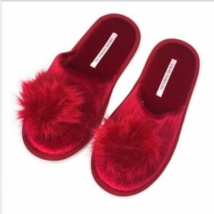 Victorias Secret Velvet Pom Pom House Shoe Slipper
